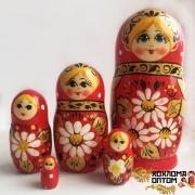 "Matryoshka ""Сamomile Red "" (5 dolls)"