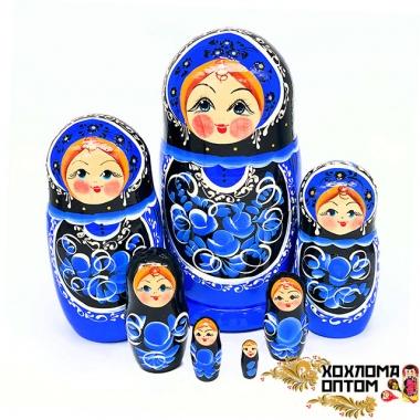 """Матрешка """"Гжель чёрная"""" 7 кукольная"""