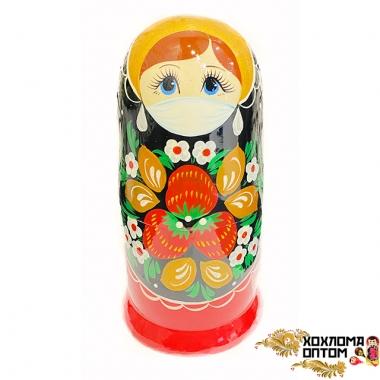 """Matryoshka """"Khokhloma Vyatka"""" medical mask (5 dolls)"""