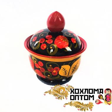 """Солонка с хохломской росписью """"Средняя"""""""
