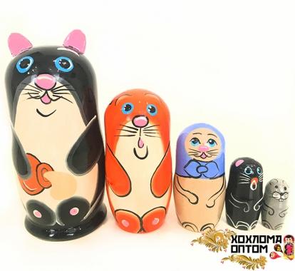 """Matryoshka """"Cat"""" (5 dolls)"""