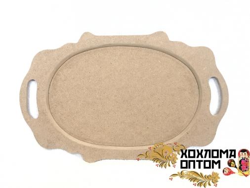 """Tray oval """"Khokhloma"""" without painting"""