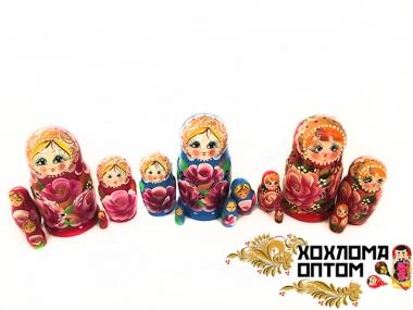 """Матрешка """"Пионы"""" 5 кукольная"""