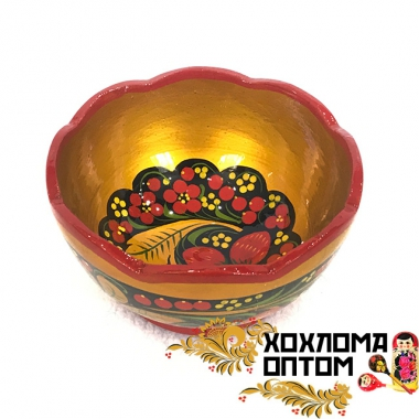 Carved cup with Khokhloma painting small
