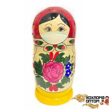 Матрешка традиционная 5 кукольная средняя в маске от вируса