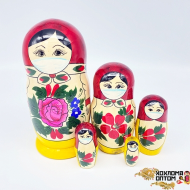 Matryoshka traditional big medical mask (5 dolls)
