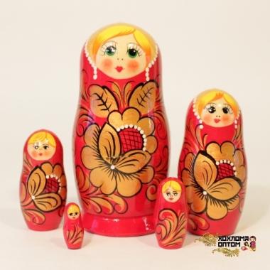 """Матрешка """"Хохлома красная"""" 5 кукольная"""