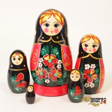 """Матрешка """"Незабудка черный платок"""" 5 кукольная"""