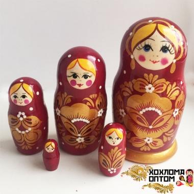 """Матрешка """"Бордовая золотой цветок"""" 5 кукольная"""