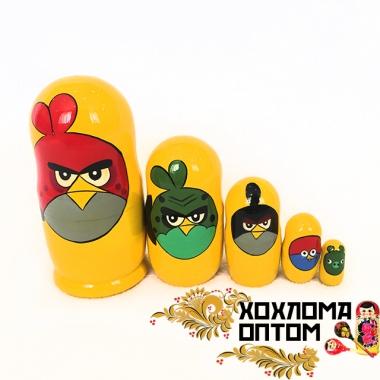"""Матрешка """"Angry birds"""" 5 кукольная"""