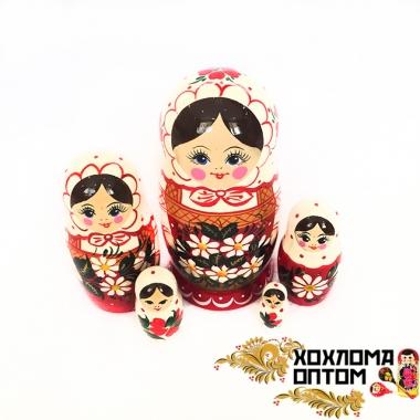 """Матрешка """"Белый платок"""" 5 кукольная"""