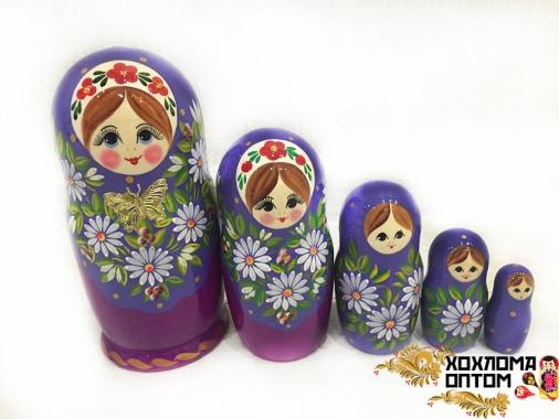 """Матрешка """"Ромашка с бабочкой"""" 5 кукольная"""