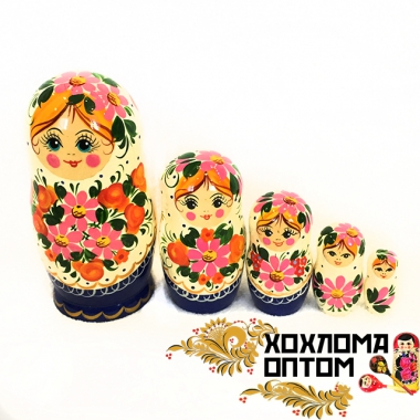 """Матрешка """"Розовый букет"""" 5 кукольная"""