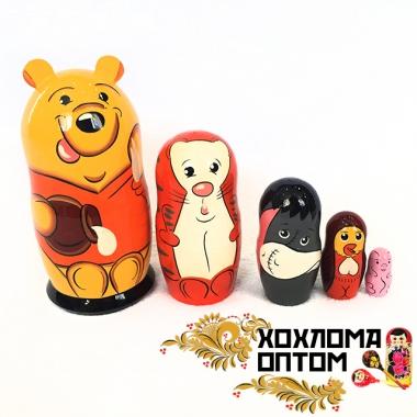 """Матрешка """"Винни Пух"""" 5 кукольная"""