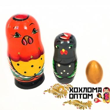 """Матрешка сказка """"Золотой петушок"""" 3 кукольная"""